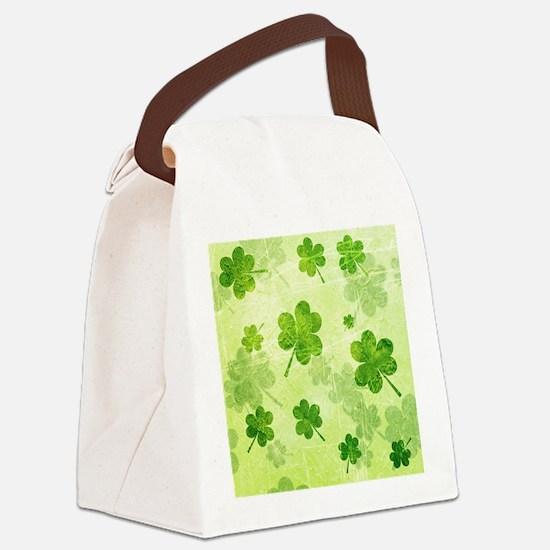 Green Shamrock Pattern Canvas Lunch Bag