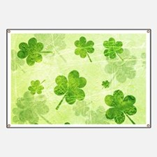 Green Shamrock Pattern Banner