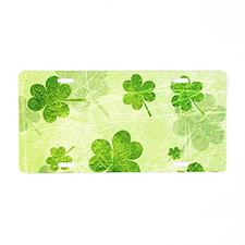 Green Shamrock Pattern Aluminum License Plate