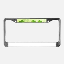 Green Shamrock Pattern License Plate Frame