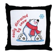 EASILY DISTRACTED BY SNOW Throw Pillow