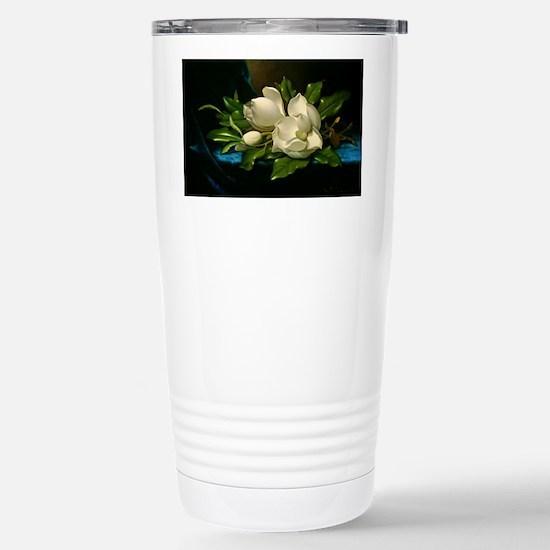 Giant Magnolia on a Blu Stainless Steel Travel Mug