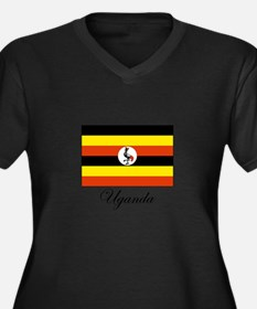 Uganda - Flag Women's Plus Size V-Neck Dark T-Shir