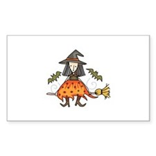 WITCH RIDING BROOM Decal