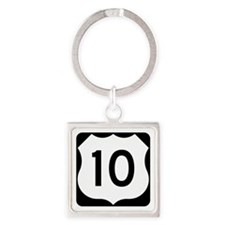 US Route 10 Square Keychain