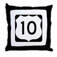 US Route 10 Throw Pillow