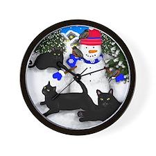 Black Cats Snowman Wall Clock
