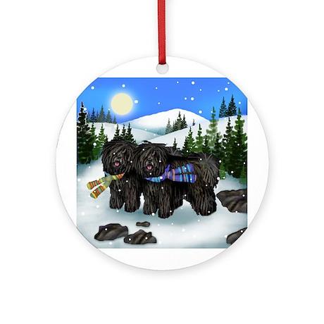 Black Puli Dogs Winter Ornament (Round)