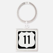 US Route 11 Square Keychain