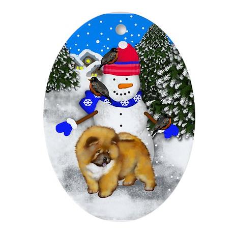 CHOW CHOW DOG Snowman Ornament (Round)