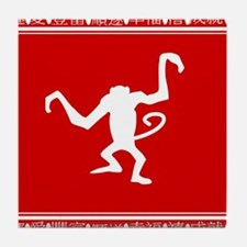 Year of the Monkey Chinese Zodiac symbol Tile Coas
