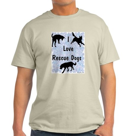 I Love Rescue Dogs (blue) Light T-Shirt