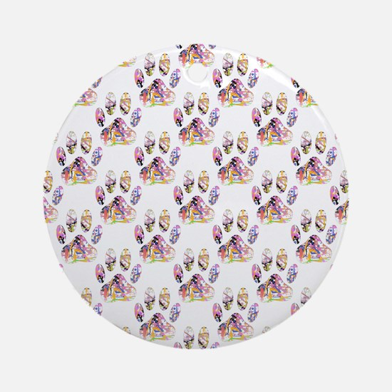 Paint Splatter Dog Paw Print Patt Ornament (Round)