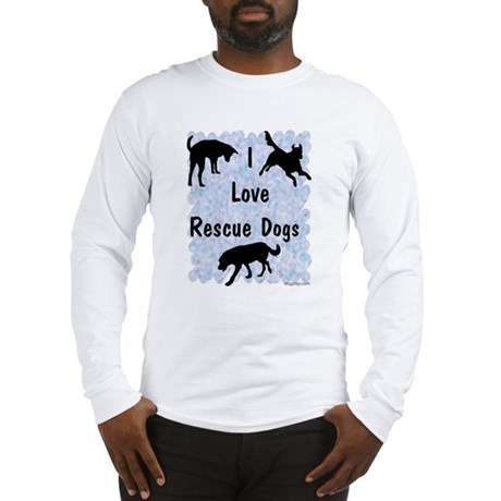 I Love Rescue Dogs (blue) Long Sleeve T-Shirt