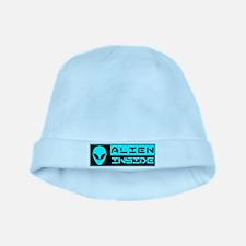 Alien Inside Cyan baby hat