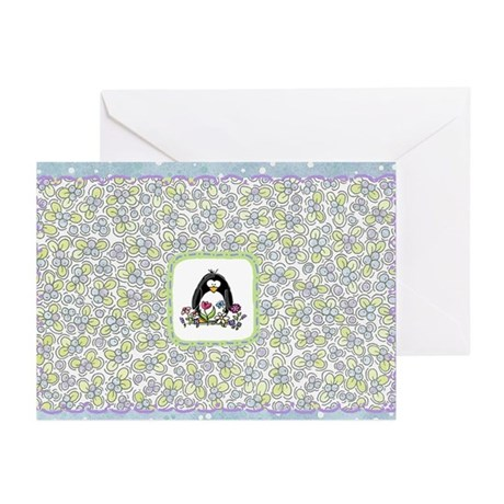 Penguin and Flowers Greeting Cards (Pk of 10)