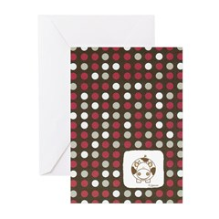 Red Dots and Cow Greeting Cards (Pk of 10)