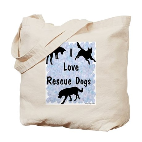 I Love Rescue Dogs (blue) Tote Bag