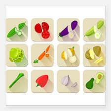 "Vegetables Square Car Magnet 3"" x 3"""