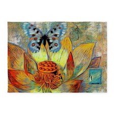 artistic flower and butterfly 5'x7'Area Rug