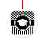 Graduation Gift Dots Stripes Ornament (Round)