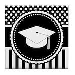 Graduation Gift Dots Stripes Tile Coaster