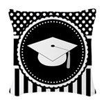 Graduation Gift Dots Stripes Woven Throw Pillow
