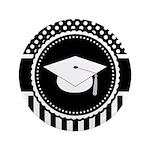 "Graduation Gift Dots Stripes 3.5"" Button"