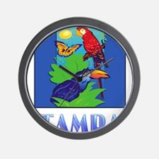 Macaw, Parrot, Butterfly, Jungle TAMPA Wall Clock