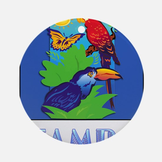 Macaw, Parrot, Butterfly, Jungle Ornament (Round)