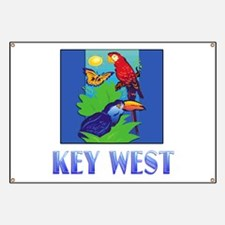 Macaw, Parrot, Butterfly, Jungle KEY WEST Banner