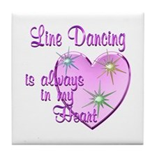 Line Dancing Heart Tile Coaster