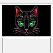 Black Cat Portrait Yard Sign