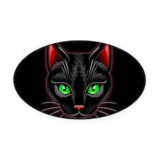 Black Cat Portrait Oval Car Magnet