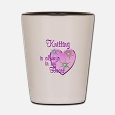 Knitting Heart Shot Glass