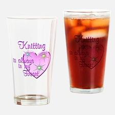 Knitting Heart Drinking Glass