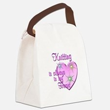 Knitting Heart Canvas Lunch Bag