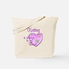 Knitting Heart Tote Bag