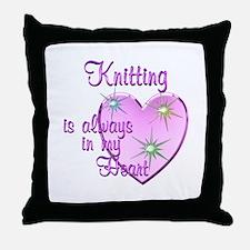 Knitting Heart Throw Pillow