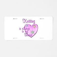 Knitting Heart Aluminum License Plate