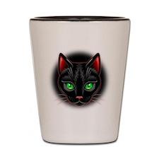 Black Cat Portrait Shot Glass