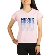 Never Give Up Blue Dark Performance Dry T-Shirt