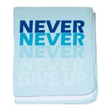 Never Give Up Blue Dark baby blanket