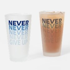 Never Give Up Blue Dark Drinking Glass