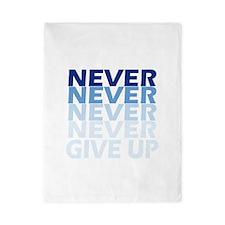Never Give Up Blue Dark Twin Duvet