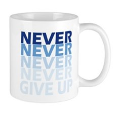 Never Give Up Blue Dark Mugs