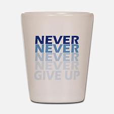 Never Give Up Blue Dark Shot Glass