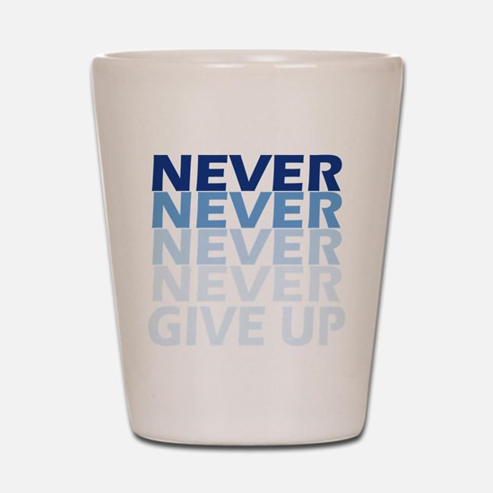 Never Give Up Blue Dark Shot Glass