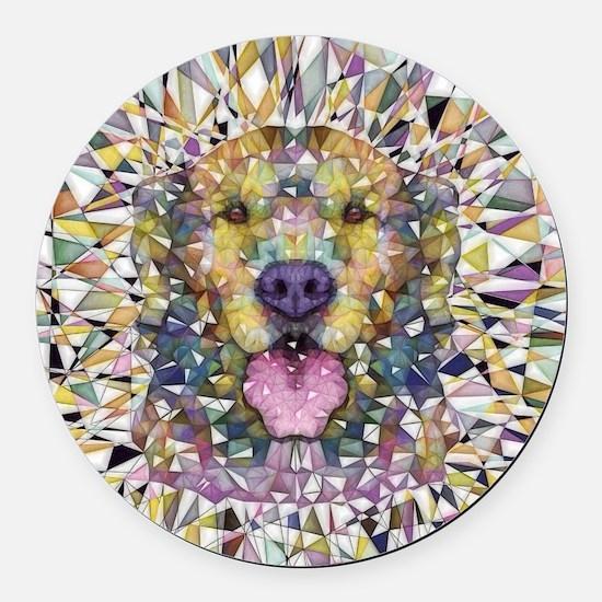 Rainbow Dog Round Car Magnet