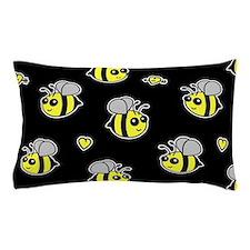 Bumble Bee Pattern Black Pillow Case
